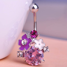 Esmalte Rhinestone Sexy Body Piercing Women Jewelry Navel Belly Button Rings Violetta Ugi 316L Medical Stainless Steel Joias wot