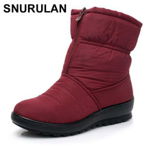 SNURULANPromotion Frauen Schnee Stiefel Frau Knöchel Plattform Keile Mode Slip-auf Wasserdichte Winter Neue Plus Samt Warme ShoesE006(China)