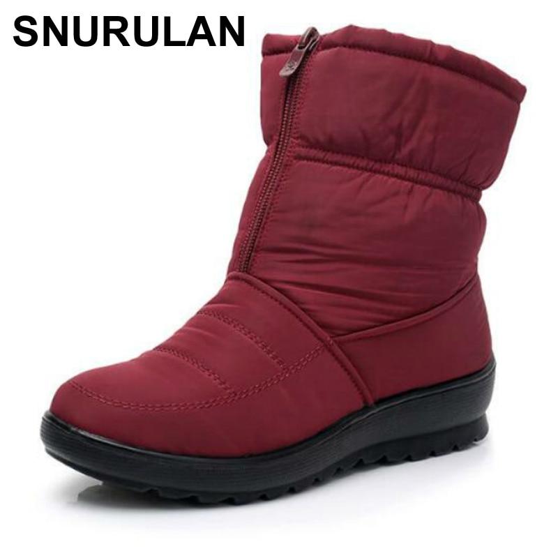 Botas de Neve Deslizamento-on à Prova Snurulanpromotion Mulher Tornozelo Plataforma Cunhas Moda Dwaterproof Água Inverno Novo Mais Veludo Quente Shoese006