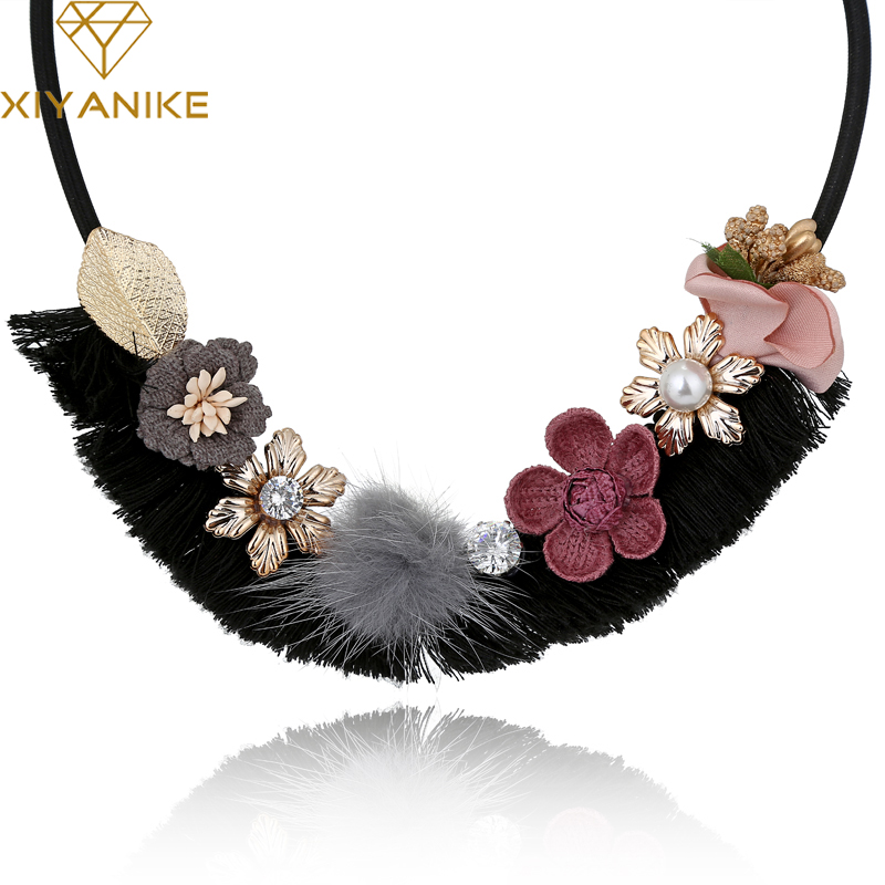 XIYANIKE New Fashion Women Trendy Vintage Noble Flower Necklace & Pendant Statement Chokers Necklaces for Women Jewelry N873