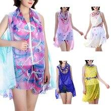 Women Lady Scarf Thin Sunscreen Chiffon Beach Blouse Poncho Cover up Towel Pashmina Dresses Geometric Shawl Scarves