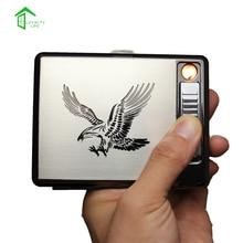 USBกรณีที่จุดบุหรี่สแตนเลสบุหรี่กล่องที่มีกล่องของขวัญแพ็ค20บุหรี่WindproofและFlameless