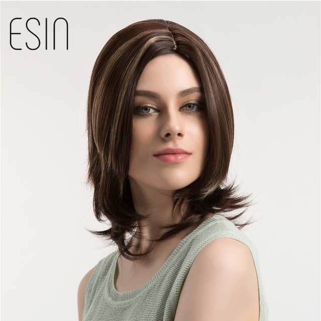 Esin Medium Length Straight Bob Wig With Ends Curly Dark