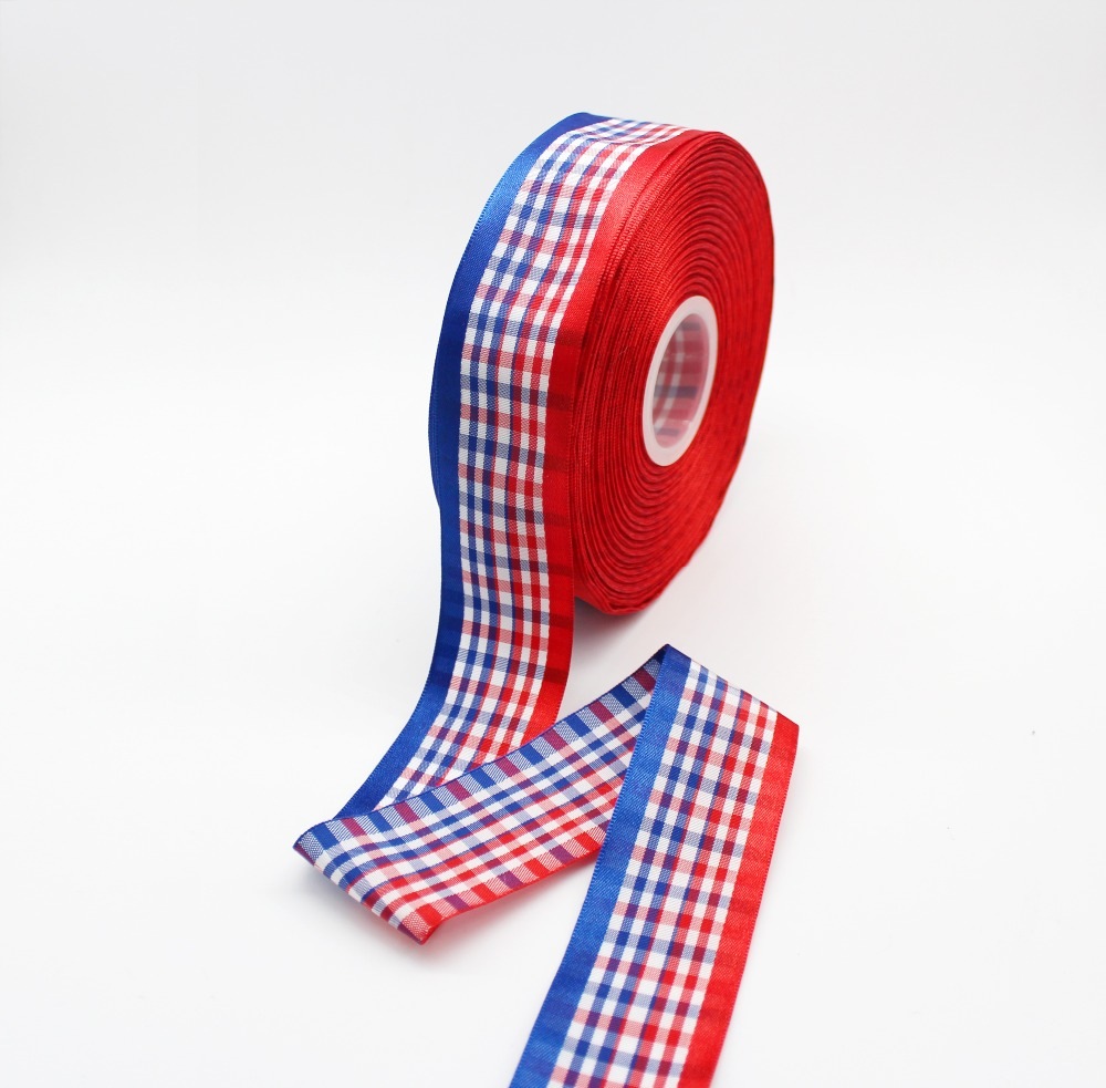 1M Red Gingham Check Woven Ribbon 38mm 1//4 inch