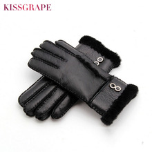 2017 Winter Brand Womens Natural Sheep Fur Gloves Thick Hand-made Black Casual Ladies Skiing Waterproof Guantes
