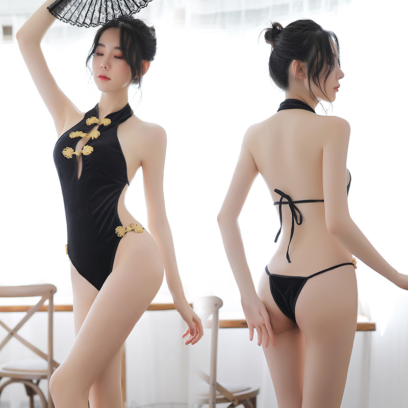 New Sexy Lingerie <font><b>Dress</b></font> Women Cheongsam <font><b>Chinese</b></font> <font><b>Dress</b></font> Exposed Breasts Sexy Costumes Uniform Cosplay Women Nightwear <font><b>Sex</b></font> Clothes image