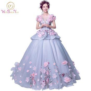 7eda4594c Foto Real 2019 elegantes vestidos de quinceañera Floral Rosa bola Vestido  corto mangas piso de longitud