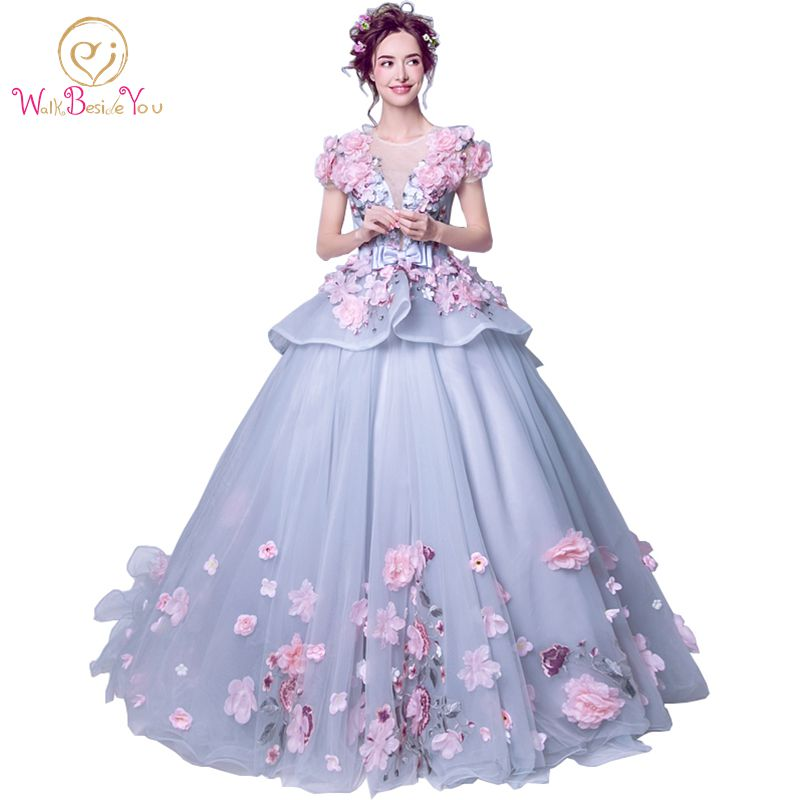 eb1a00fc64 Real Photo Elegant 2019 Quinceanera Dresses Pink Floral Ball Gown Short  Sleeves Floor Length Tulle Lace Cheap Party Gowns