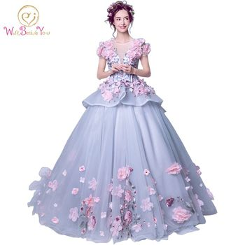 Real Photo Elegant 2020 Quinceanera Dresses Pink Floral Ball Gown Short Sleeves Floor Length Tulle Lace Cheap Party Gowns