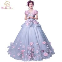 Real Photo Elegant 2017 Quinceanera Dresses Pink Floral Ball Gown Short Sleeves Floor Length Tulle Lace