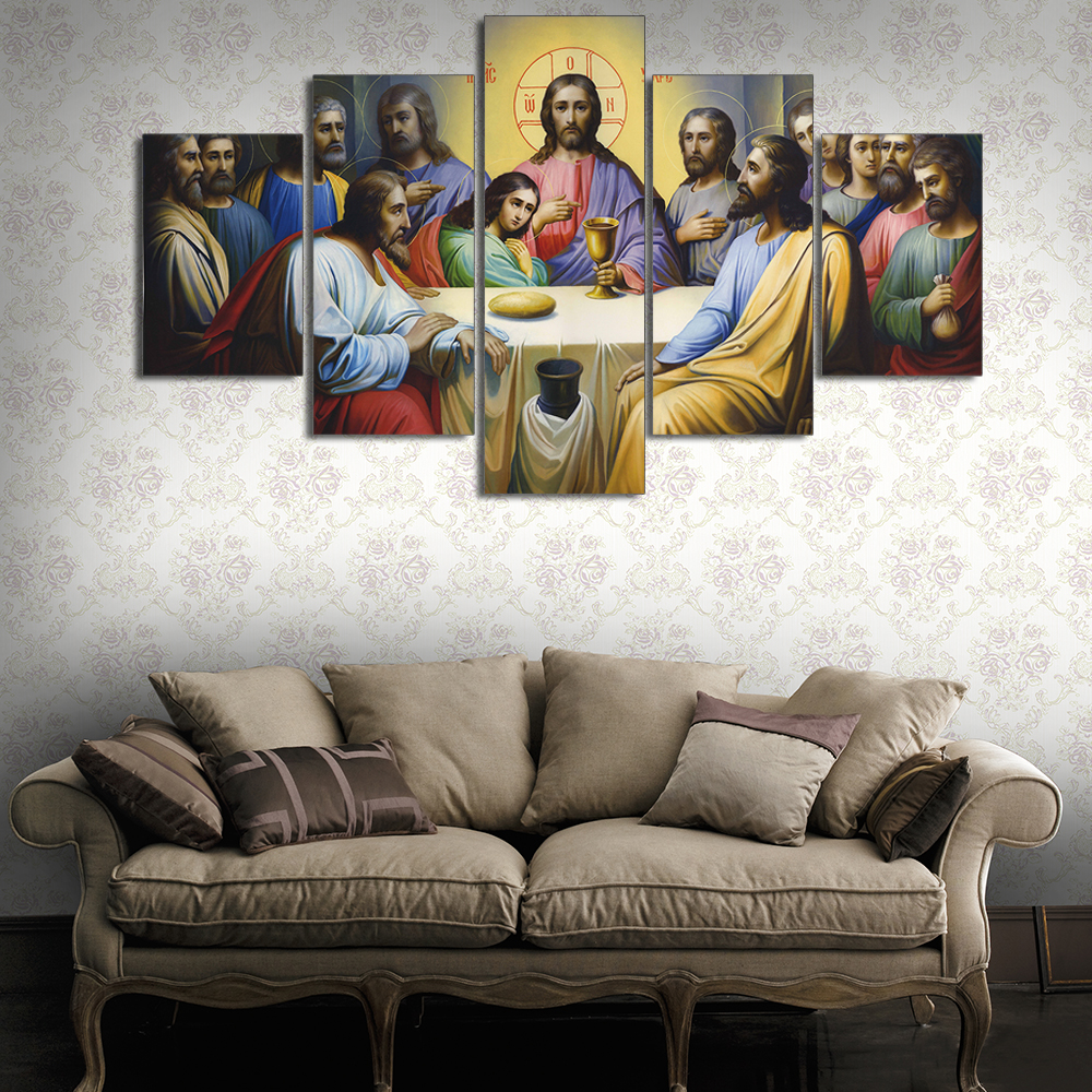 ALMUDENA 5 Pieces HD Printed Jesus The Last Supper Home Decoration