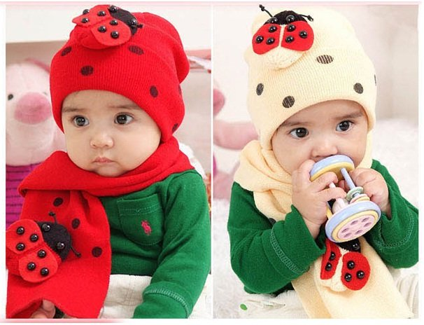 Fashion Cute Baby Boy Girl Winter Knitted Hat And Scarf