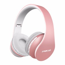 Lobkin Wireless Bluetooth Headphone, Foldable Headphones + Wired Bluetooth Headphone for Iphone-Rose gold