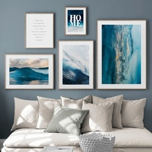 Blue Sea Wave Landscape Quotes Wall Art Canvas Painting Abstract Nordic Posters And Prints Pictures For Living Room Decor