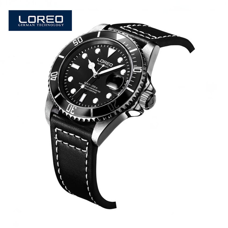 LOREO Horloges Mannen Luminous Classic 3 Colors Auto Mechanical Montre Relojes Mens Hollow Skeleton Analog Wrist Watch A05 hot classic men s black leather dial skeleton mechanical sport army wrist watch new relogio masculino horloges mannen 6050310