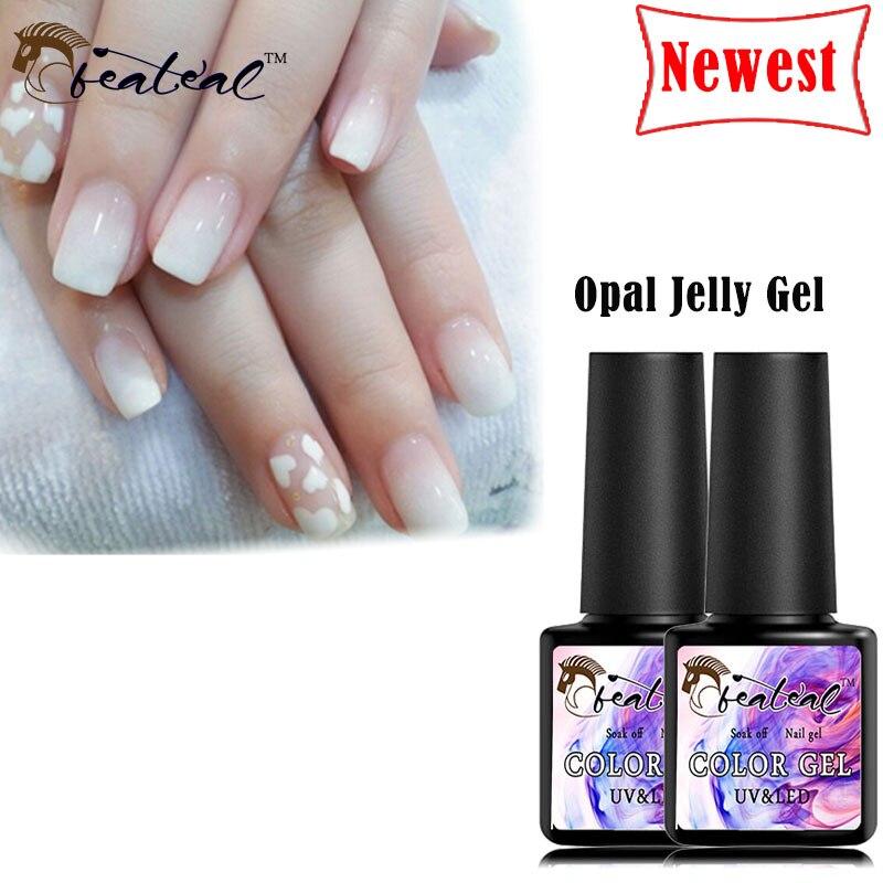 Beateal 8ml Nude Color Gel Nail Polish Soak Off UV Opal Jelly Gel Nail Art Semi-Permanent French Effect Varnish Manicure Liquid