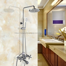 цена на Polished Chrome Rainfall 8 Bath Shower Mixer Faucet Set Wall Mounted with Hand Shower Swivel Tub Spout Shower Taps Ncy326
