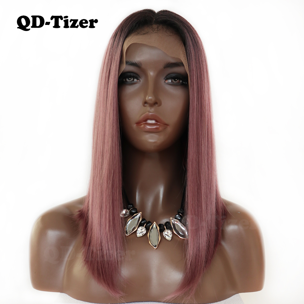 QD Tizer Dark Roots Short Bob Purple Wig 180 Density Synthetic Lace Front Wig Ombre Wigs