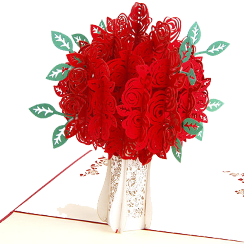 3pcs/lot Handmade 3D Rose Pop up Gift Happy Birthday Greeting Cards Vintage Valentine's Day Postcards Love Theme Thank You Cards 26 pcs in one postcard love you from a to z love letter romantic love christmas postcards greeting birthday cards 10 2x14 2cm