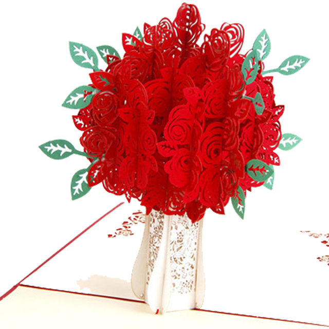 3pcs Lot Handmade 3D Rose Pop Up Gift Happy Birthday Greeting Cards Vintage Valentines Day Postcards Love Theme Thank You