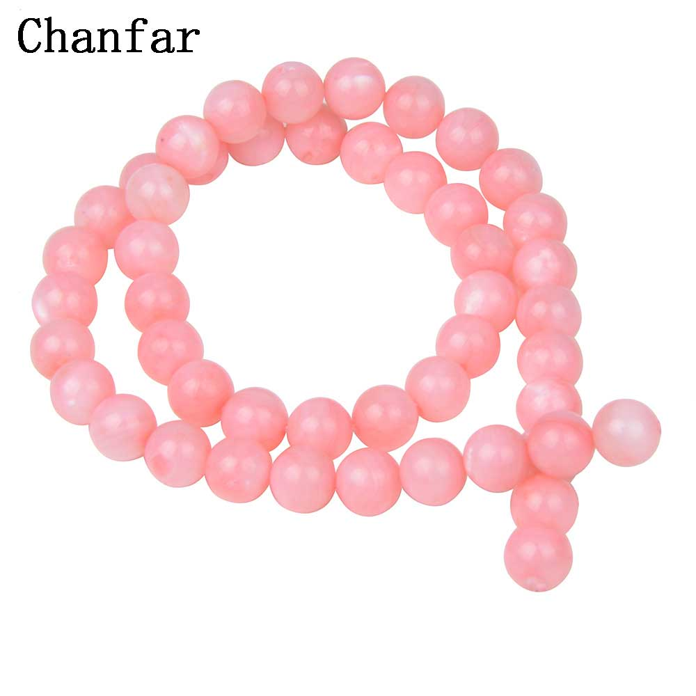 Colored Round Pink Shell Beads For Women Shell Jewelry Making Loose Beads