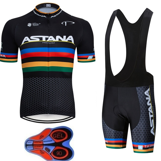 2019Team Astana Cycling JERSEY Bike Shorts set Quick Dry Ropa Ciclismo Mens Breathable Bicycle clothing summer 9D GEL MTB2019Team Astana Cycling JERSEY Bike Shorts set Quick Dry Ropa Ciclismo Mens Breathable Bicycle clothing summer 9D GEL MTB