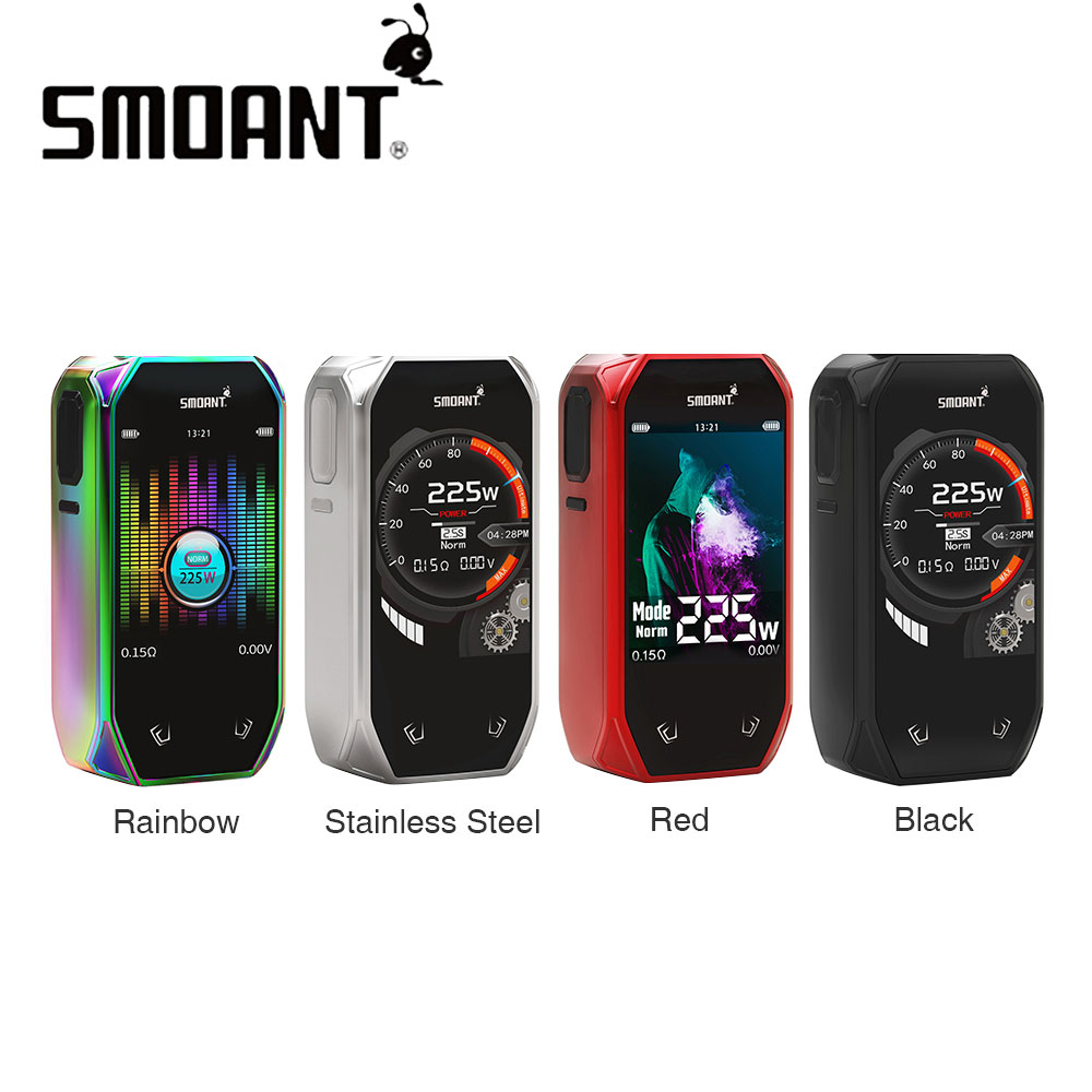 Original 225W Smoant Naboo TC Box MOD with 2 4 Inch Colorful Screen Powered By Dual