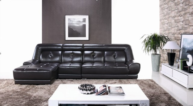 Charmant Elegant Black Color Modern Latest Corner Sofa Design Leather Corner Sofa  Set Designs And Prices