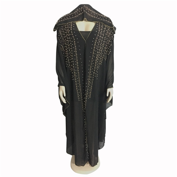 African Dresses For Women Beading Robes Long Maxi Dresses Fashion Plus Size Chiffon Dress Hooded Black Abaya Batwing Vestidos 10