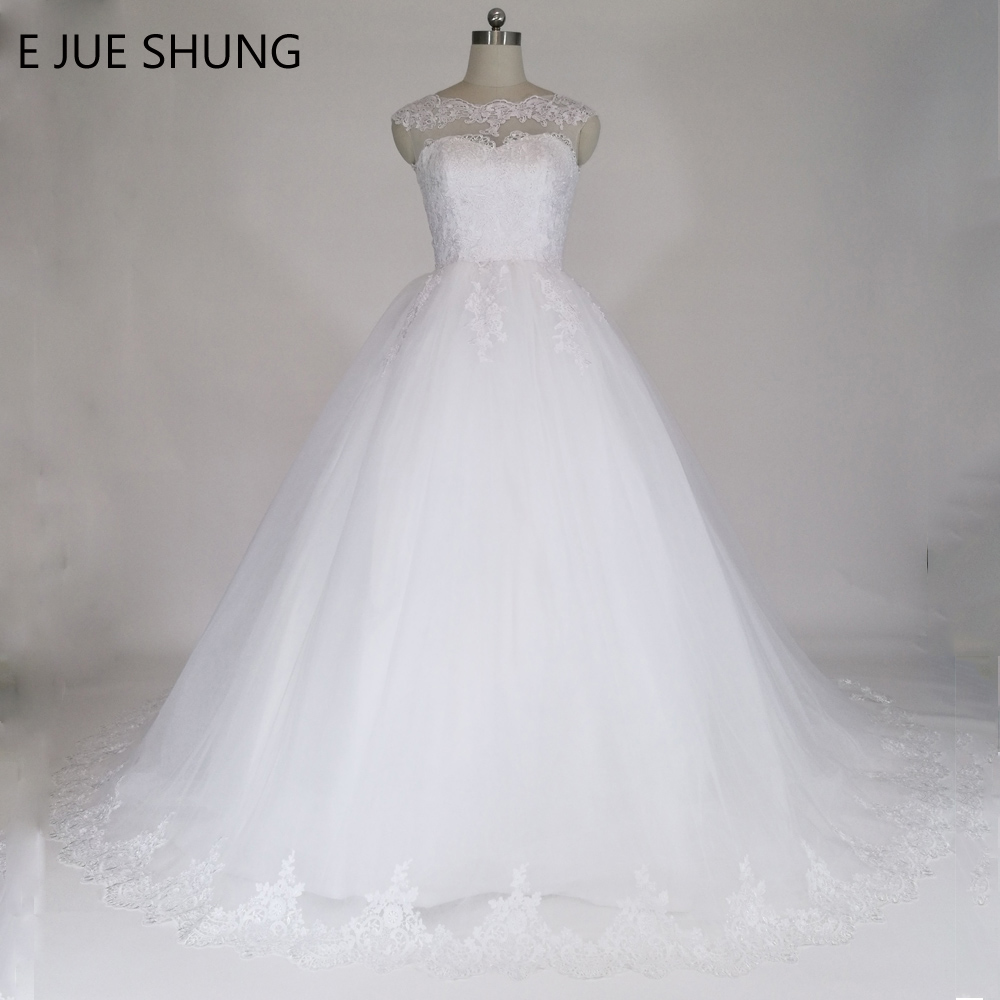 E JUE SHUNG White Lace Appliques Ball Gown Cheap Wedding Dresses 2018 Lace Up Back Կափարիչով թևեր Հարսանյաց զգեստներ vestidos de noiva