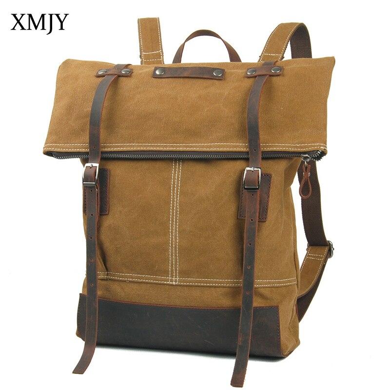 XMJY Canvas Backpack Preppy Style Unisex College School Students Backpacks Fashion Casual Vintage Rucksacks Travel Back pack