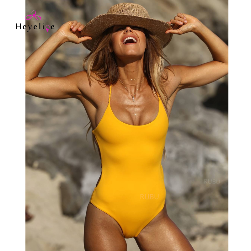 Sexy One Piece Swimsuit Women Yellow Bandage Swimwear Monokini Padded Push Up Sport Bathing Suits Beach Girls New Thong Swimwear one piece swimsuits trikinis high cut thong swimsuit sexy strappy monokini swim suits high quality denim women s sports swimwear