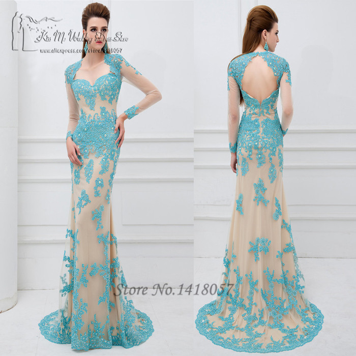 Long Elegant Blue Champagne Long Sleeve Lace Prom Dresses 2016 ...