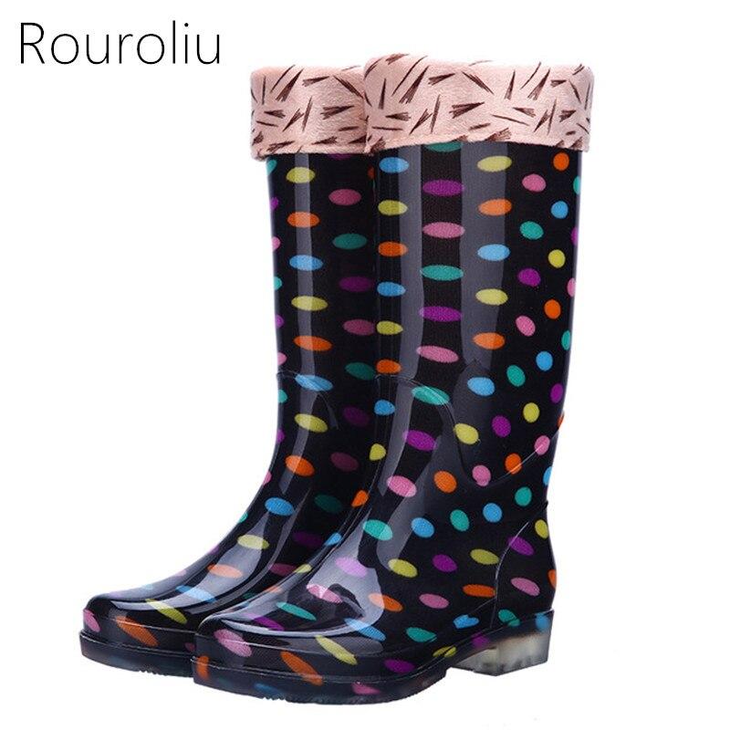 Rouroliu Women Polka Dot Rainboots PVC Waterproof Water Shoes Wellies Non-Slip Warm Knee-High Rain Boots Woman RT346
