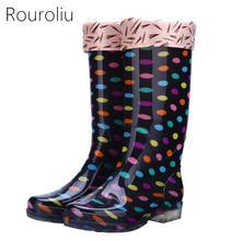 Rouroliu Для женщин в горошек резиновые сапоги из ПВХ водонепроницаемые