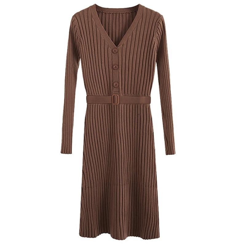 Autumn Winter Women Dresses 2018 Fashion V-neck Sexy Slim Elasticity Knit Pullover Long Female Sweater Party Dress Vestidos K716