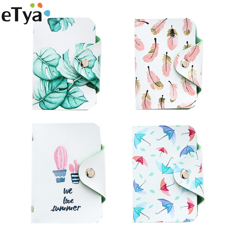 eTya Fashion Unisex Women Lady Credit Card Wallet Leather Pu Leather Fruit Summer Business ID Coin Student Card Holder Bag Case 2018 pu leather unisex business card holder wallet bank credit card case id holders women cardholder porte carte card case