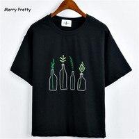 Merry Pretty New Summer Korean Style Women T Shirt Harajuku Bottle Plants Pattern Kawaii Embroidery Cotton