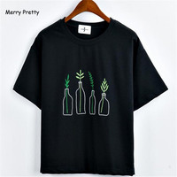 Merry Pretty New Summer Korean Style Women T Shirt Harajuku Bottle Plants Pattern Kawaii Embroidery Cotton