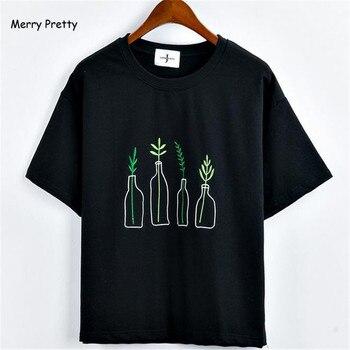 Vrolijk Mooie Nieuwe Zomer Koreaanse Stijl Vrouwen T-Shirt Harajuku Fles Planten Patroon Kawaii Borduren Katoen Tee Shirt Leuke Tops