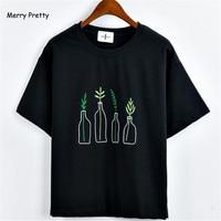Vrolijk Pretty Nieuwe Zomer Koreaanse Stijl Vrouwen T-Shirt Harajuku Fles Planten Patroon Kawaii Borduurwerk Katoen Tee Shirt Leuke Tops