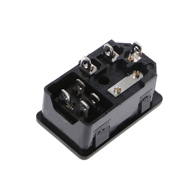 6a 250v 10a 125v spst rocker switch 3 pin iec320 c14 inlet module plug fuse