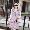 Plus Size Women Warm Vest Winter New Arrivals Fashion Patchwork Long Hooded Waistcoats Zippers Solid Outwear Coats 62591
