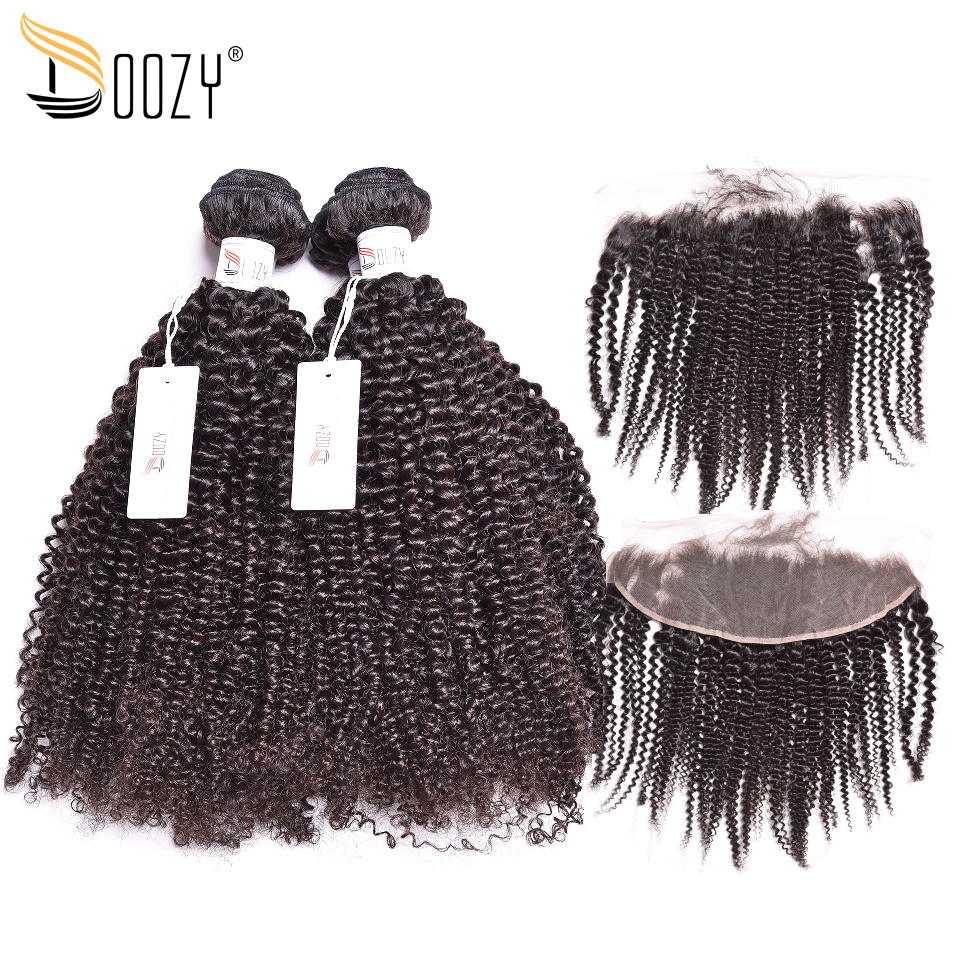 Doozy Brazilian Hair Afro Kinky Curly Remy Human Hair Weave 3 Bundles With Ear To Ear Lace Frontal Closure