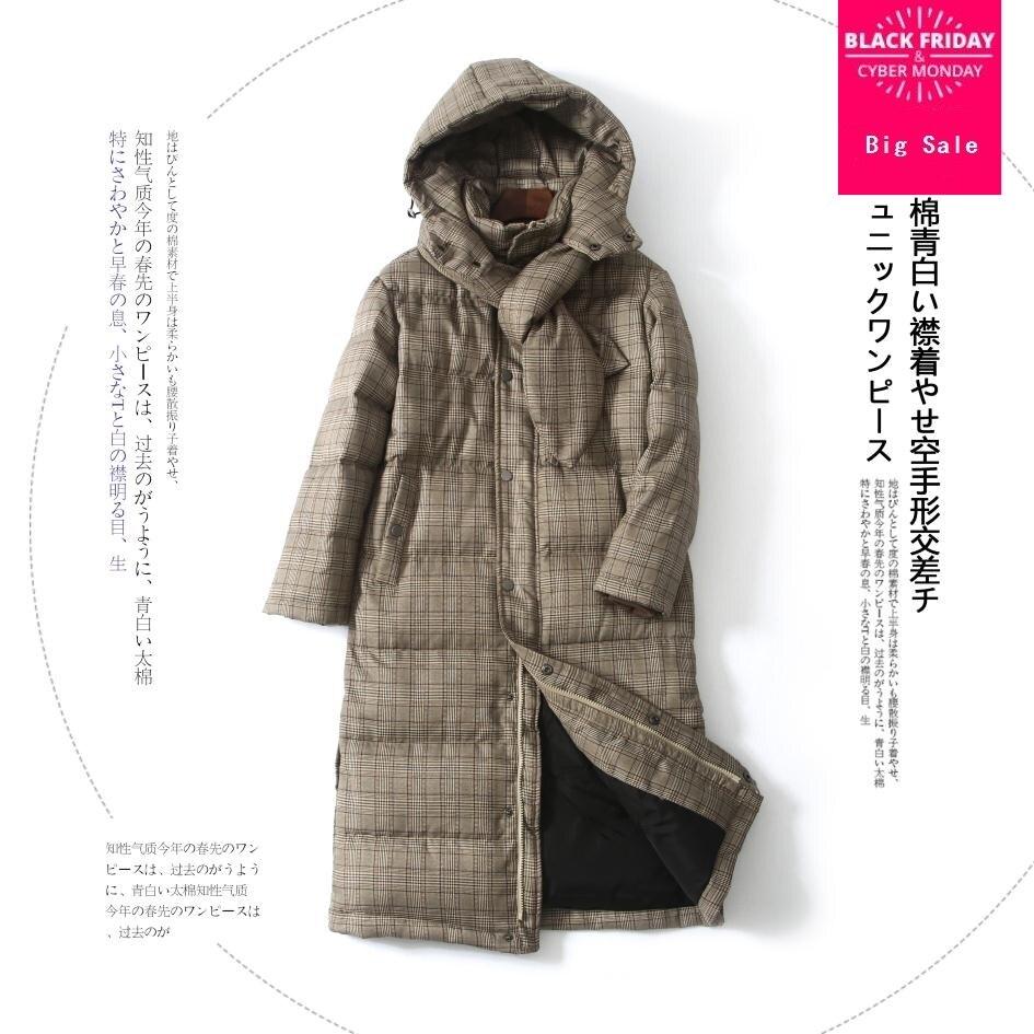 Hiver plaid tissu sur le genou plus réel duvet de canard manteau à capuchon femelle dsingle boutonnage avec fermeture à glissière chaud vers le bas manteau wq216