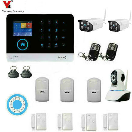 YobangSecurity Wireless GSM WIFI Portable Auto Dialer DIY Home Alarm System + Wireless WIFI Outdoor Indoor IP Security Camera yobangsecurity touch keypad wireless wifi gsm home security burglar alarm system wireless siren wifi ip camera smoke detector
