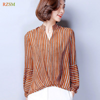 Black White Stripped Female Blouses Long Sleeve Casual Loose Women S OL Shirt Vertical Striped Chiffon