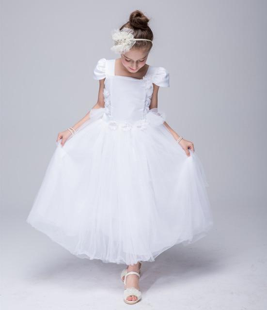 Сладкий Тюль бальное платье с короткими рукавами светло-голубой открытой спиной Великолепная Scoop невесты свадебное платье для маленьких девочек