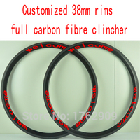 Free shipping 2Pcs customized 700C 38mm clincher rims Road bicycle T1000 full carbon fibre bike wheels rims lightest