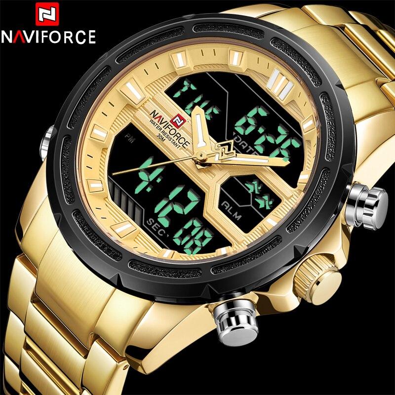 Gold Full Steel Watch LED Analog Digital Clock Male Sport Outdoor